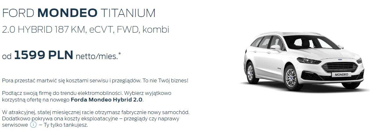 Ford Mondeo Hybryd w atrakcyjnych ratach miesięcznych 1