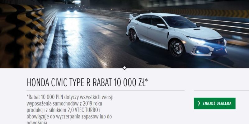 Rabat na Hondę Civic Type R 1